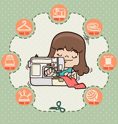 Young girl sewing new dress with sewing machine vector