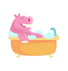 Cute cartoon hippo taking a bath pink vector