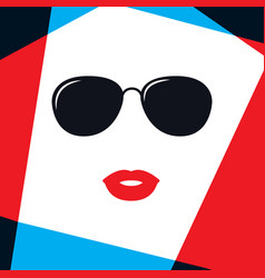 Model women face in fashion sunglasses vector