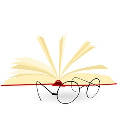 opened book and spectacles on a white background vector image vector image