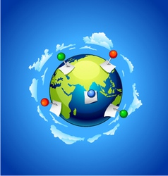 Planet earth with a note paper and pins vector image