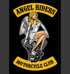 sexy angel and motorcycle engine vector image vector image