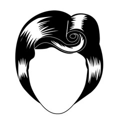 silhouette drawing of faceless woman with eighties vector image vector image