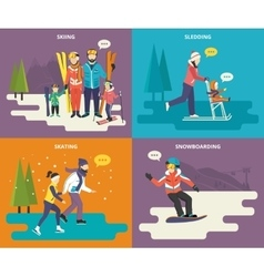 Family with kids concept flat icons set of winter vector image vector image