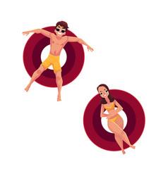 man in sunglasses and woman wearing bikini on vector image vector image