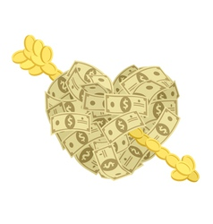 Money heart with arrow vector image vector image