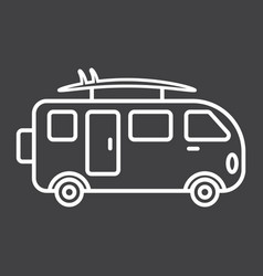 Surfer van line icon transport and vehicle vector