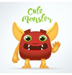 Comic Cartoon red creature character with cute vector image vector image