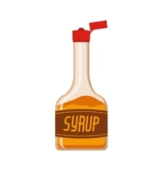 full color bottle with syrup vector image vector image