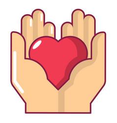 hand heart icon cartoon style vector image vector image