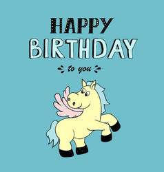 Happy birthday lettering party with pony vector