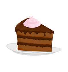 Piece of cake on plate pie isolated dessert on vector