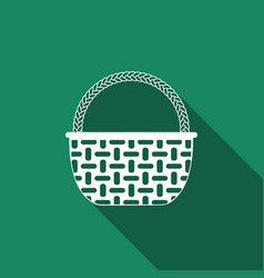 wicker basket icon isolated with long shadow vector image