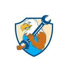 American Bald Eagle Mechanic Wrench Shield Cartoon vector image vector image