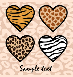Animal print hearts vector image vector image