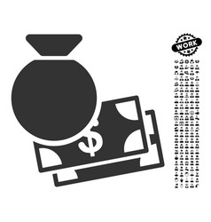 capital icon with work bonus vector image