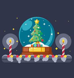 christmas tree gift box glass ball flat design vector image vector image