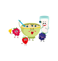 Funny smiling oatmeal porridge bowl and raspberry vector