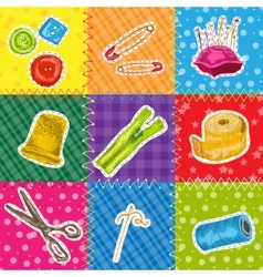 Sewing patchworks set vector image vector image