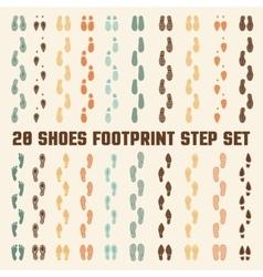 Shoes Footprints Colorful Tracks Set vector image