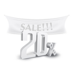 20 percent off silver sale text discount template vector image