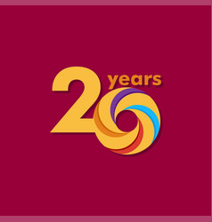 20 year anniversary colorful template design vector