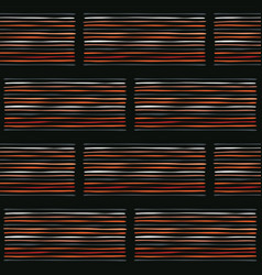 Abstract geo stripes seamless black and orange vector