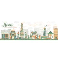 Abstract hanoi skyline with color landmarks vector