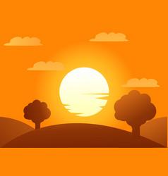 Autumn trees with sundown vector