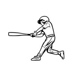 baseball kids player hit ball black white vector image