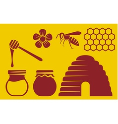 Bee and honey icons vector