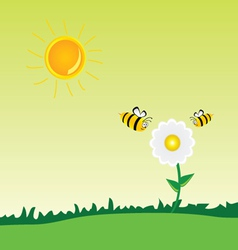 bee with flower art vector image
