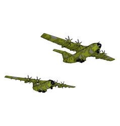 Big old green bomber on white background vector