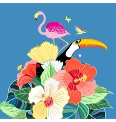 bird paradise and plants vector image