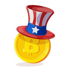 bitcoin in american hat vector image
