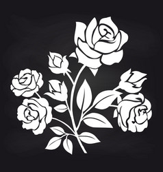 bush of roses flowers on chalkboard vector image