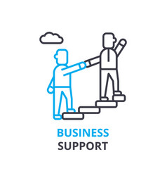 business support concept outline icon linear vector image
