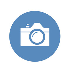 Camera icon sign placed in blue circle vector