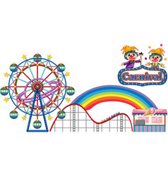 carnival with rides and vendor on white background vector image