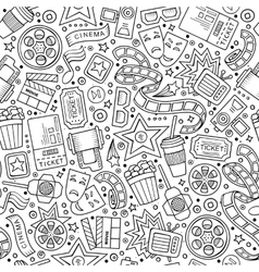 Cartoon cute hand drawn Cinema seamless pattern vector