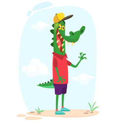 Cartoon funny and happy crocodile standing vector