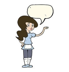 cartoon waitress with speech bubble vector image