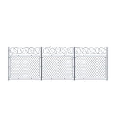 chain link fence with barbed wire or barbwire vector image
