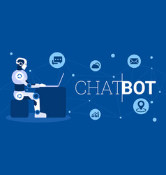 Chat bot using laptop computer infographic vector