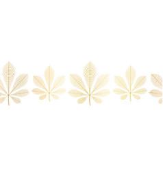 chestnut leaves gold foil seamless border vector image