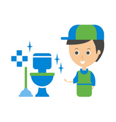 Cleanup service worker and clean toilet cleaning vector