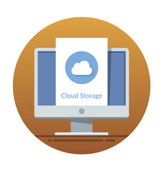 cloud storage icon on the monitor screen flat vector image