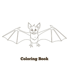 Coloring book forest animal bat cartoon vector
