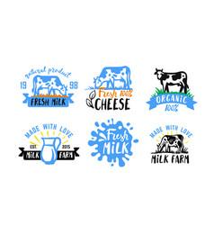 cow and milk emblem farm black sketch stickers vector image