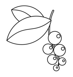 currant branch with leaves icon outline style vector image